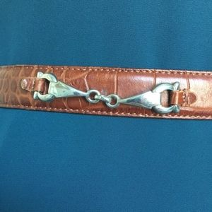 Talbots Accessories - Talbots // Brown Leather Silver Horse Bit Belt